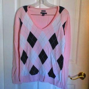 Tommy Hilfiger Pink & Navy Argyle Sweater LG